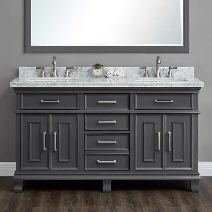 Brayden 60 Double Sink Bath Vanity By Mission Hills In 2020 Double Vanity Bathroom Double Sink Bathroom Vanity Master Bathroom Vanity