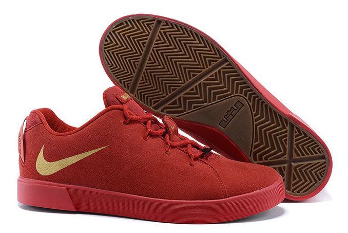 newest 64660 b1d64 2015 Fashion Nike LeBron 12 (XII) NSW Lifestyle Low Tops Casual Shoes Red  Golden