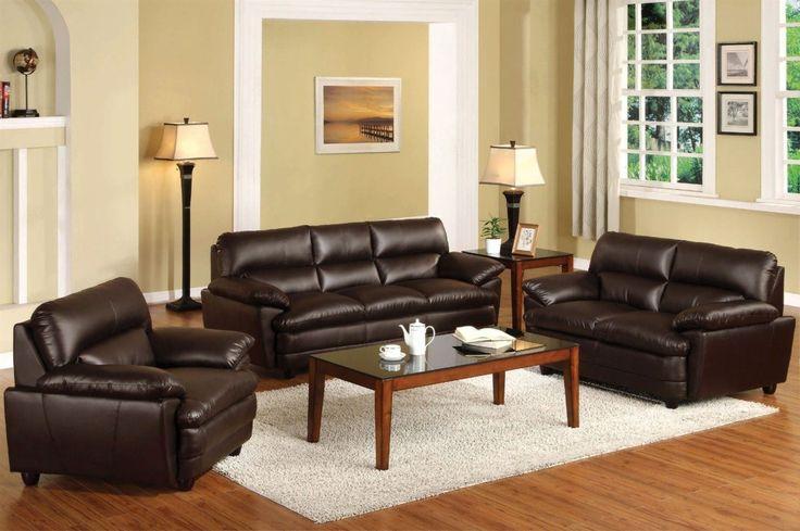 Dark Brown Leather Living Room Set