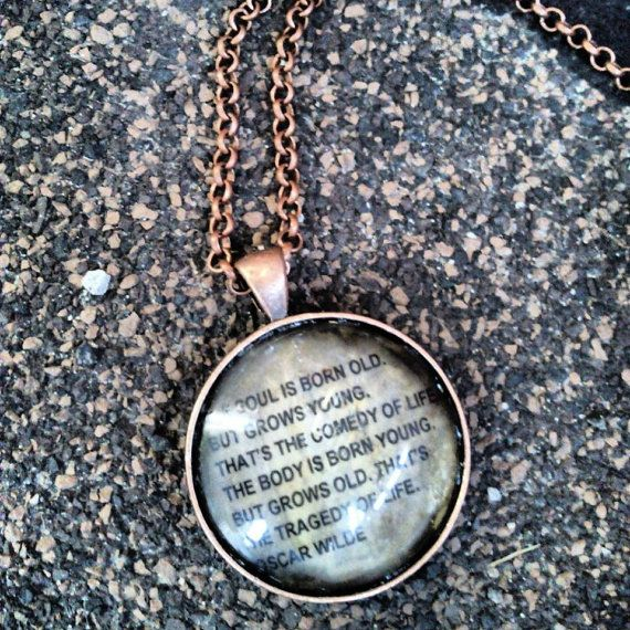 Oscar Wilde Quote Necklace. Aged metal  by HippieSoulJewelry, $15.00 #Summertime #style #Necklace #jewelry #boho #quote #hippie