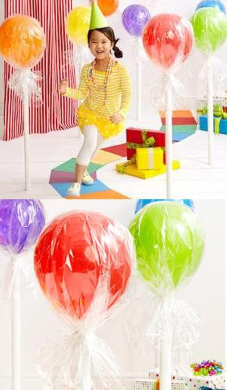 Top 10 DIY Balloon Decorations Super cute idea for a birthday:)OMG Giant lolipops