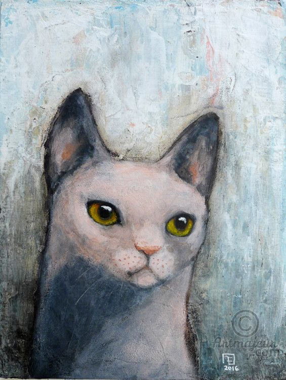 PINK CAT - SOLD (Peinture),  18x24x0,3 cm par evafialka Peinture acrylique sur…