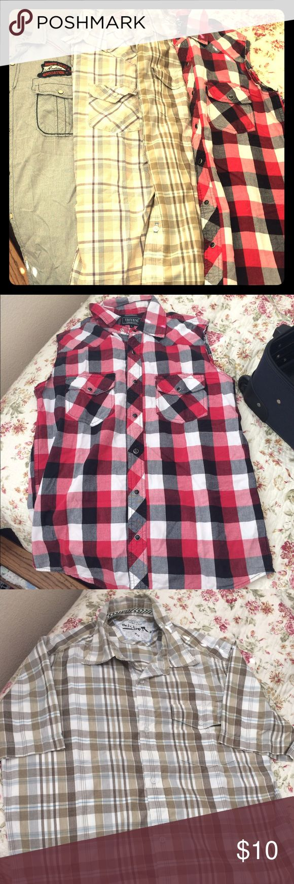 BUNDLE MEN SHIRTS Good condition of men shirts. Brands Arizona, Old Navy, Quicksilver, and Triveni! 3 have short sleeves and one is sleeveless as noted in pics. One states size L but fits like M, rest are M size. GREAT DEAL FIRM PRICE! Shirts Casual Button Down Shirts