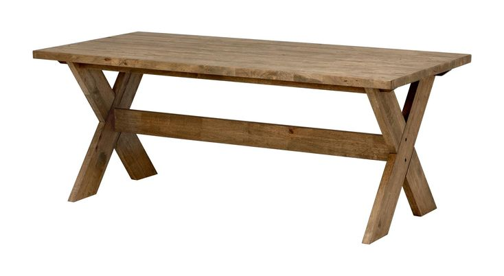 """Matbord i gråbetsad/mattlackad hevea. Frästa spår i bordsskiva. 190x90 cm. Höjd 75 cm. Skivans tjocklek är 4 cm. Monteras. Vikt 69 kg. Läs om fraktavgiften under fliken """"Leverans""""."""