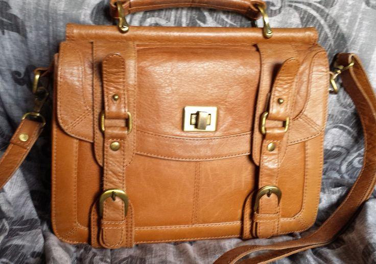 Small Briefcase satchel, Vintage Leather Satchel bag purse, Caramel Brown…