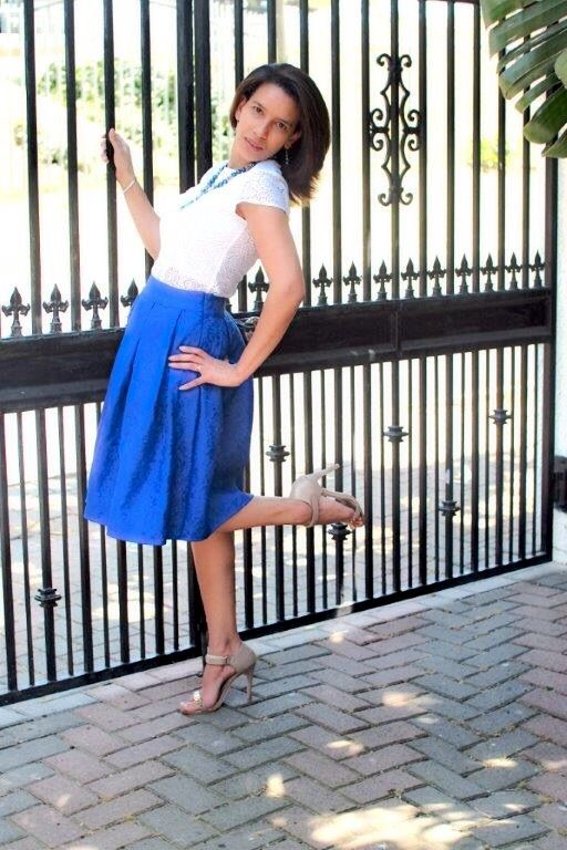 White Lace Peplum & Blue Midi Skirt - Available from Lauré Eleganze