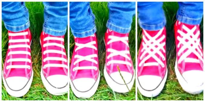 Lær å knyte skoene dine på 3 kreative måter