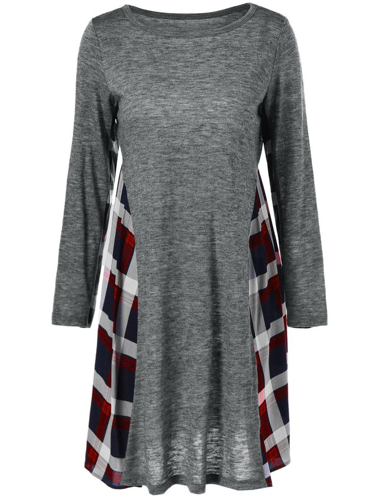 $8.09 Long Sleeve Checked Patchwork Dress in Checked | Sammydress.com