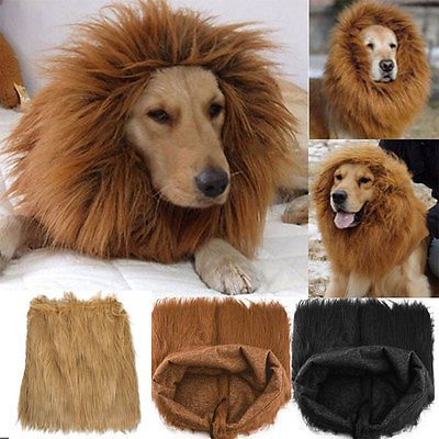 New Pet Costume Lion Mane Wig For Dog Halloween Cloth Festival Fancy Dress Up