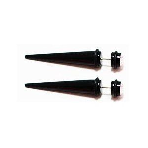 16 gauge Earrings-Pair of Black Acrylic Tapers for by SHOPATLUXE