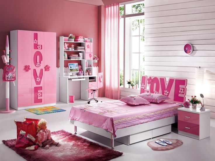 childrens pink bedroom furniture. Contemporary Childrens Kids Room Bedroom Design Ideas With Lovely Pink Girls Bed Also Cute  Furniture Set Wardrobe And Side Table Rugs Study Swevel Chairs  In Childrens