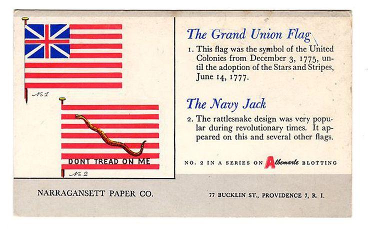 Grand Union FLAG Navy Jack Flag Don't Tread On Me Advertising Blotter Providence RI Narragansett Paper Co.