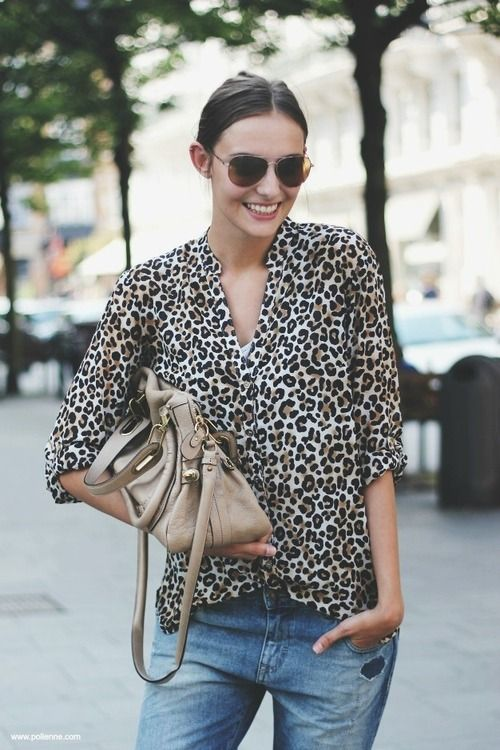 Leopard spots and jeans. A good combo.
