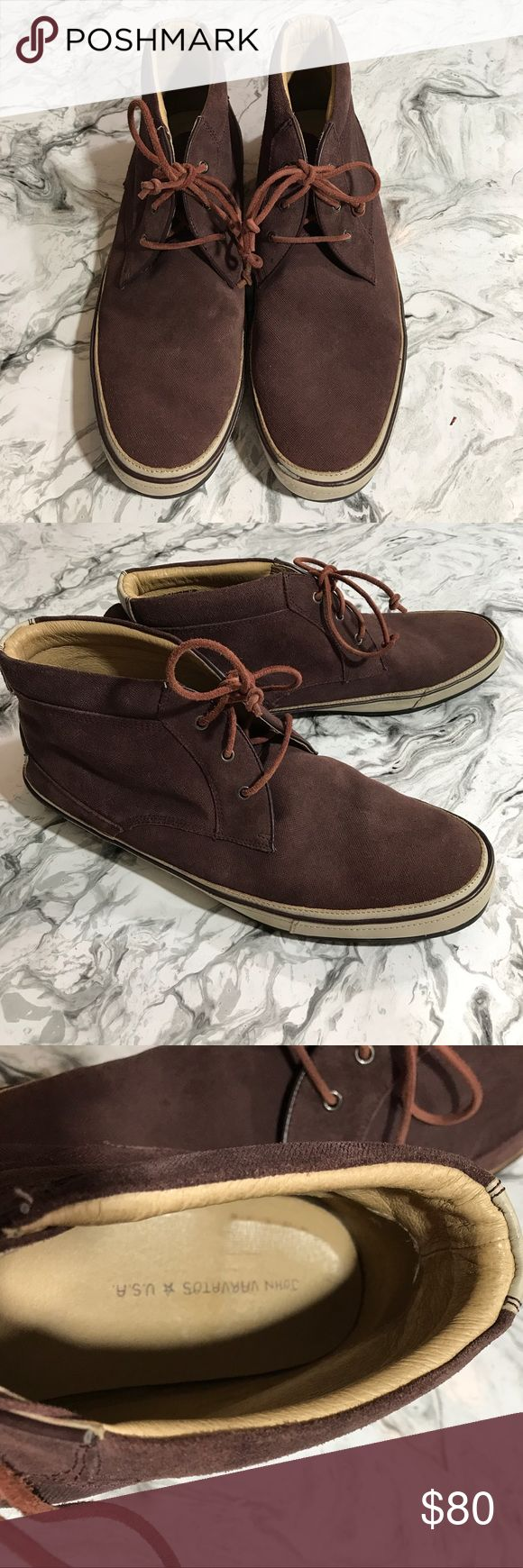John Varvatos Star USA Redding Chukka Boots 13 M John Varvatos Star USA Redding Chukka Boots. Size 13 M. Burnished calfskin suede with contrasting leather sidewall. Burgundy/brown color. Rugged tire-tread outside. Very good used condition - few scuffs, see photos for details. John Varvatos Shoes Chukka Boots