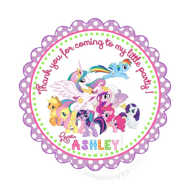 "Custom My Little Pony Birthday Thank you Printable 2.5"" Tags-Personalized Little Pony Birthday party thank you 2.5 inches Tags-Stickers DIY Birthday Favor Tags"