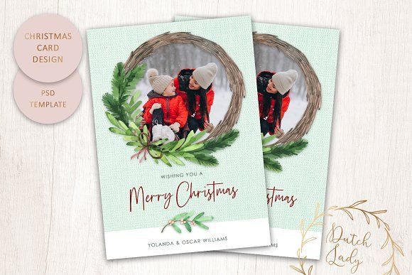Psd Christmas Photo Card Template By The Dutch Lady Designs On Creativemarket