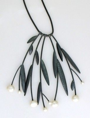 Sydney Lynch Midnight Prairie necklace...antique Asian look to it...oxidized silver, pearls