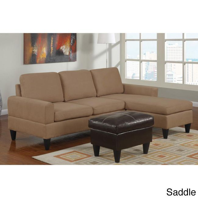 Great Poundex Hesse Reversible Sectional Sofa in Microfiber Finish with Ottoman