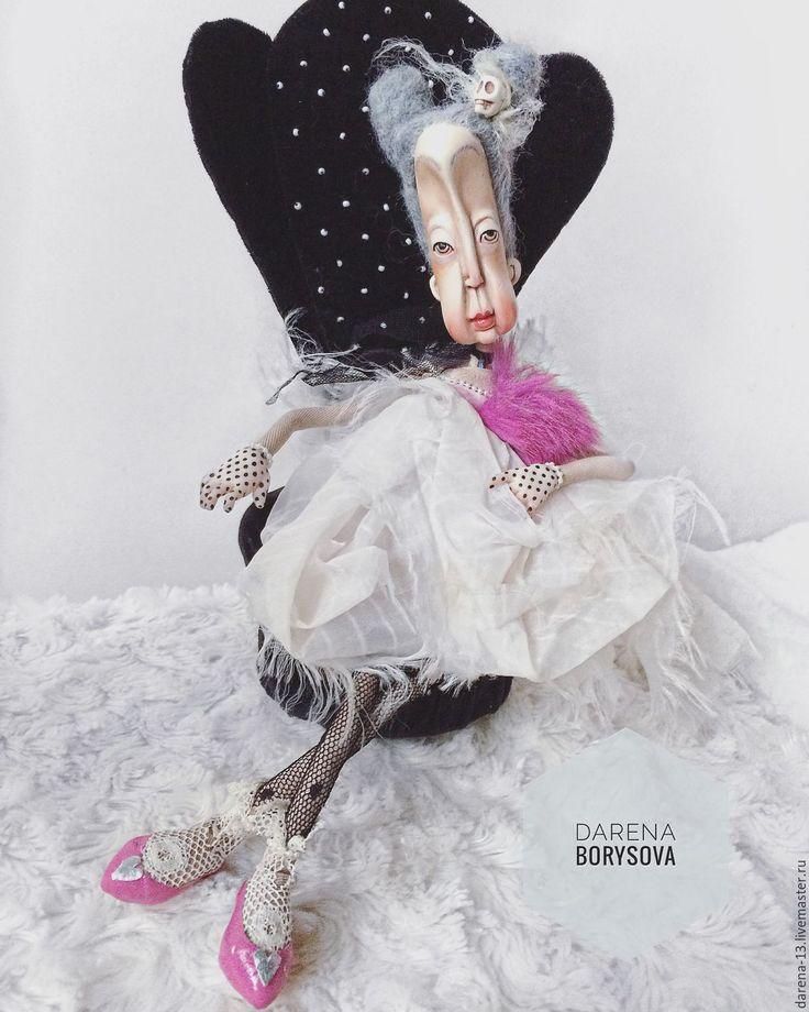Купить Бабушка Люсия - серый, кукла ручной работы, кукла интерьерная, кукла текстильная