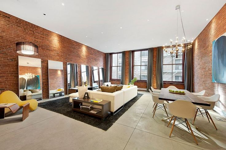 Inventive use of mirrors in the living room 100 Brick Wall Living Rooms That Inspire Your Design Creativity