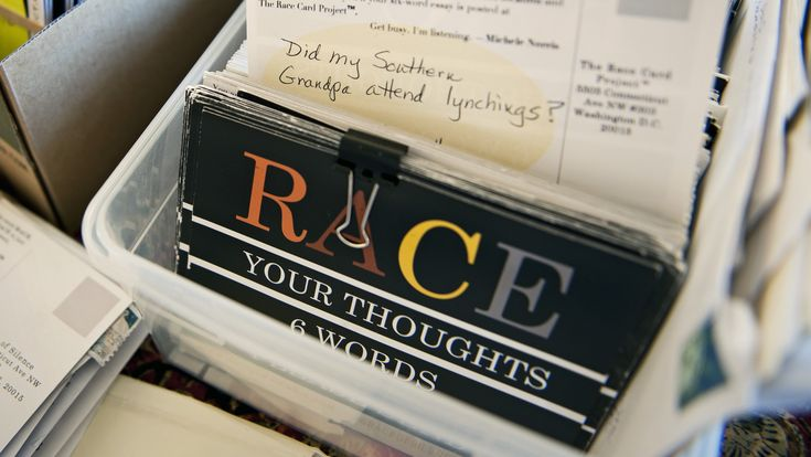 "Last spring, my 10th and 11th grade English classes participated in ""The Race Card Project"" (from NPR). Students wrote 6-word essays on the role of race in their lives."