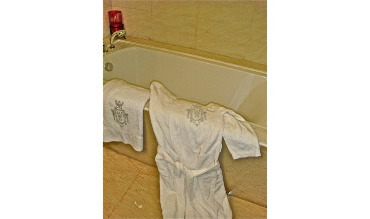 Get into the Ultra-Snob Feel....  Pictured here are Ultra-Snob Bathrobe and Bath Towel with Medieval Monogram