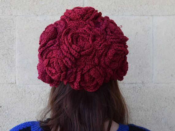 Crochet Freeform Roses Hat - Fairy Hat, Pixie Hat, Elf Hat. Ruby Color. More pics in my shop.