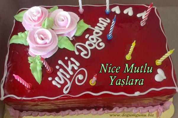 Güllü Pastayla Doğum günü kutlama kartı - p253 - DogumGunu.Biz