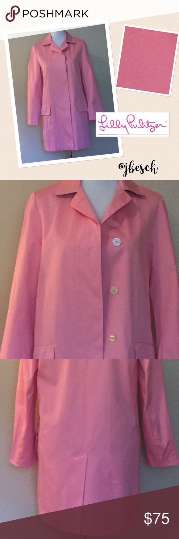 Lilly Pulitzer All Weather Coat This adorable pink Lilly Pulitzer is the perfect coat! It features hidden buttons, a kick-pleat and Aruba patchwork lining on the cuffs and collar! The shell is 100% cotton and the lining is 100% acetate, This Lilly is in perfect condition!            Johnna Lilly Pulitzer Jackets & Coats