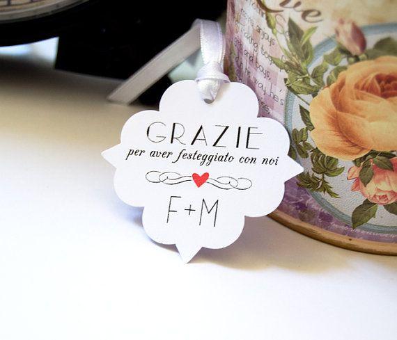 Etichette Eleganti per Matrimonio, Etichette per Bomboniere, Targhette Matrimonio, Decorazioni Matrimonio, Set di 24 Etichette Bianche