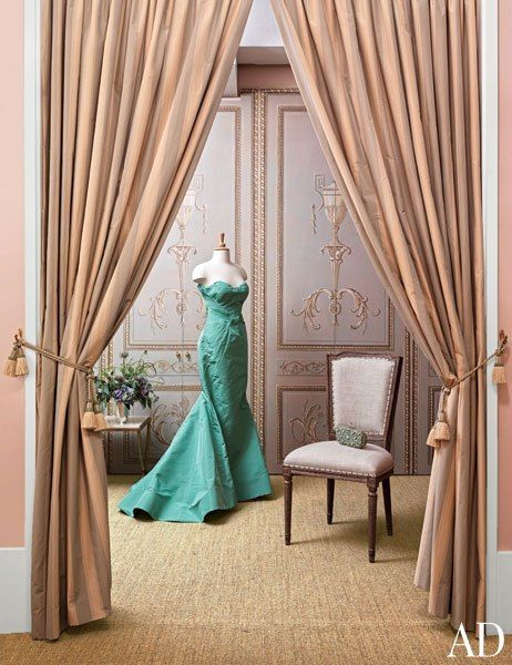 """Trompe l'oeil paneling and tassel tiebacks in the private fitting-room suite are a nod to 17th-century French salons."" Interior design by Daniel Romualdez. Photo: Joshua McHugh. ""Moda Operandi's Manhattan Office."" Text by David Colman. Architectural Digest (2013)."