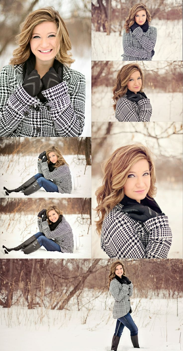 Senior winter poses. Snow mini session.   ANP.