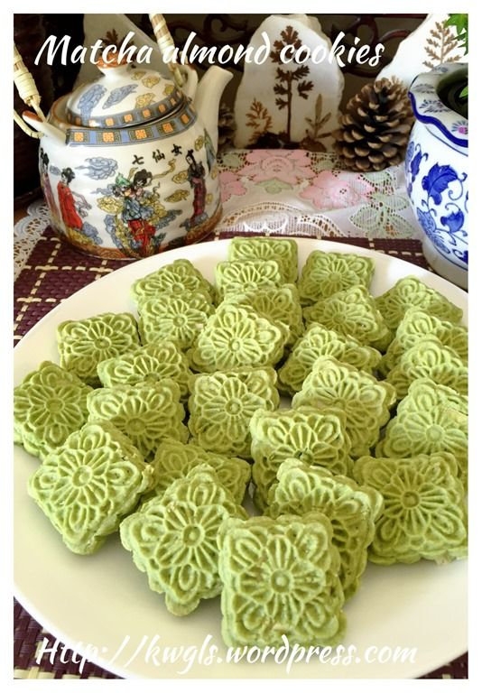 Matcha, Moon cake and Almond cookies on Pinterest