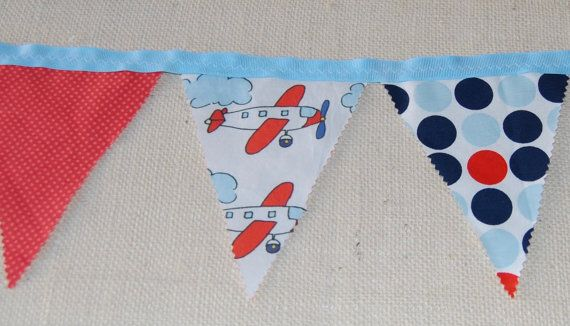 Airplane fabric bunting by inklingspapers on Etsy
