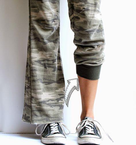 DIY Refashioned Track Pants | Trash To Couture. pantalones rotos o grandes que se pueden convertir en nuevos.