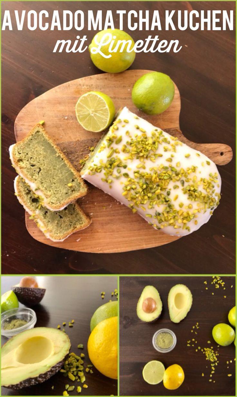 Avocado Matcha Kuchen mit Limetten. Super köstlich!