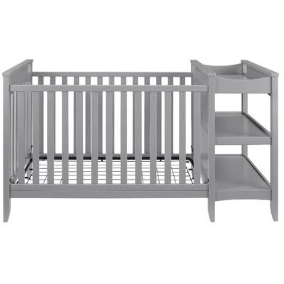 Features:  -Baby Relax collection.  -Combo includes 1 convertible crib with 1 fixed changing table.  -Traditional timeless design with a modern twist.  -Gender neutral light gray finish.  -Attached ch