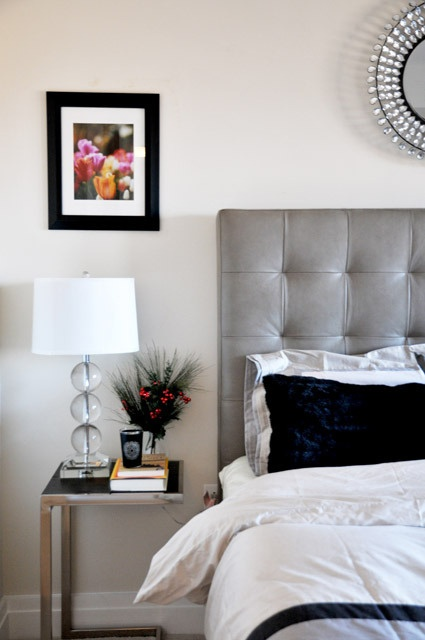 Grid Tufted Leather Headboard +  Abacus Table Lamp + Framed Side Table from west elm via @Apartment Therapy