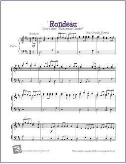 Rondeau (Masterpiece Theater) | Free Sheet Music for Piano - http://makingmusicfun.net/htm/f_printit_free_printable_sheet_music/rondeau-piano.htm