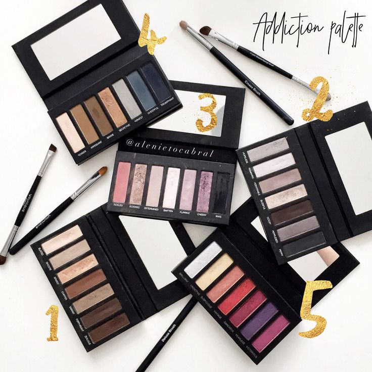 Younique eyeshadow palettes! All of them! 5 beautiful pigmented eyeshadow palettes. #younique #addictionpalette #makeup #eyeshadowpalette #eyeshadow
