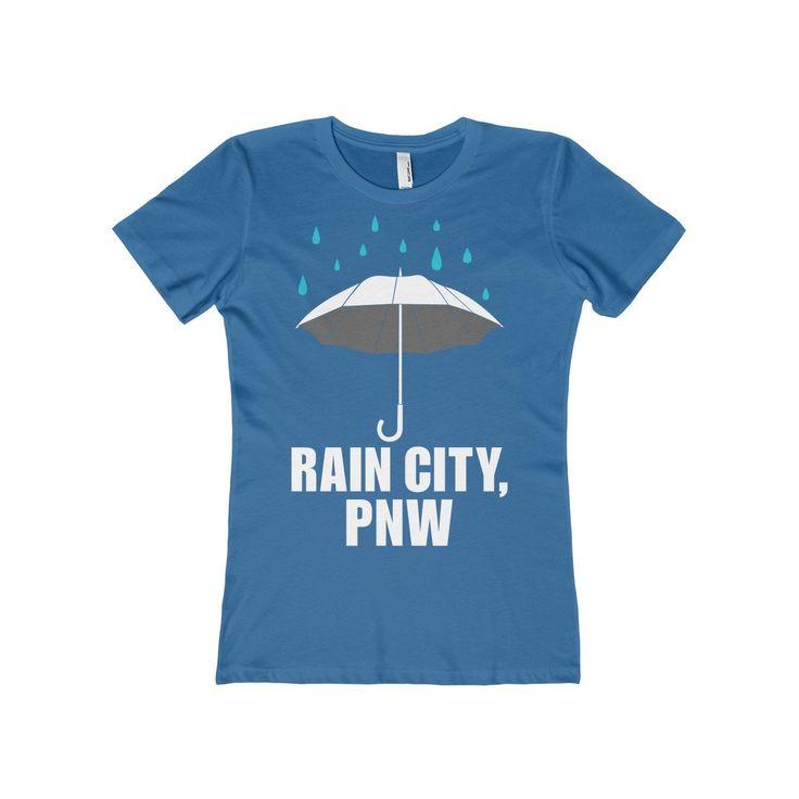 Rain City, PNW Blue Women's Tee. Pacific Northwest Tee. Washington.  Oregon. Seattle. Portland.