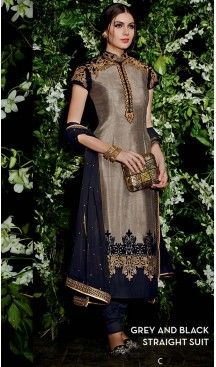 Gray Silk Straight Cut Style Incredible Stitched Party Wear Churidar Kameez