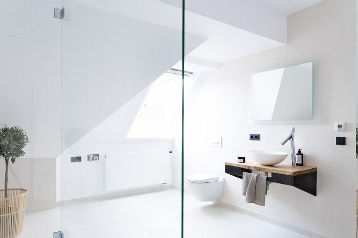 Glas Raumteiler für Duschraum, Badezimmer komplett weiß gestalten, kleines Baum zu Hause