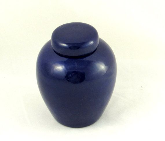 Ceramic Blue Glazed Pet Urn, Cat or Dog or any animal, Hand made -4.5 inches tall