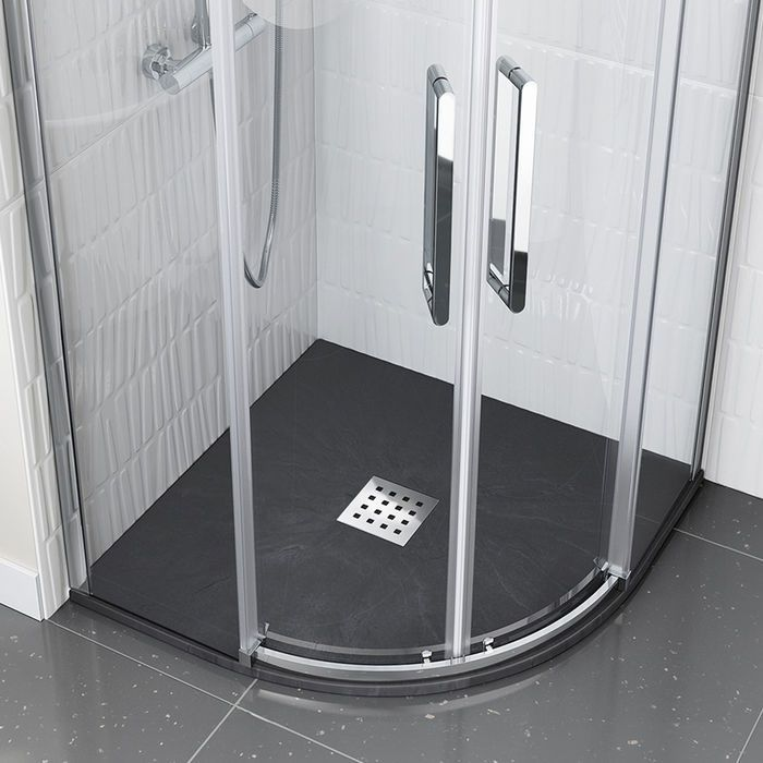900x900mm Quadrant Slate Effect Shower Tray Chrome Waste Small Bathroom With Shower Black Shower Tray Small Shower Tray