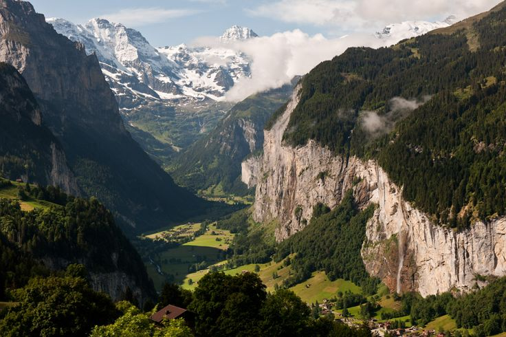 Lauterbrunnen, Switzerland, below, with its iconic waterfall.