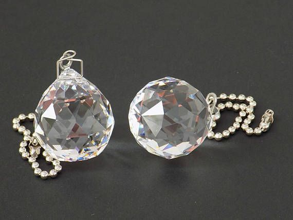 Crystal Ball Ceiling Fan Pull Chain 2 pc Crystal Light