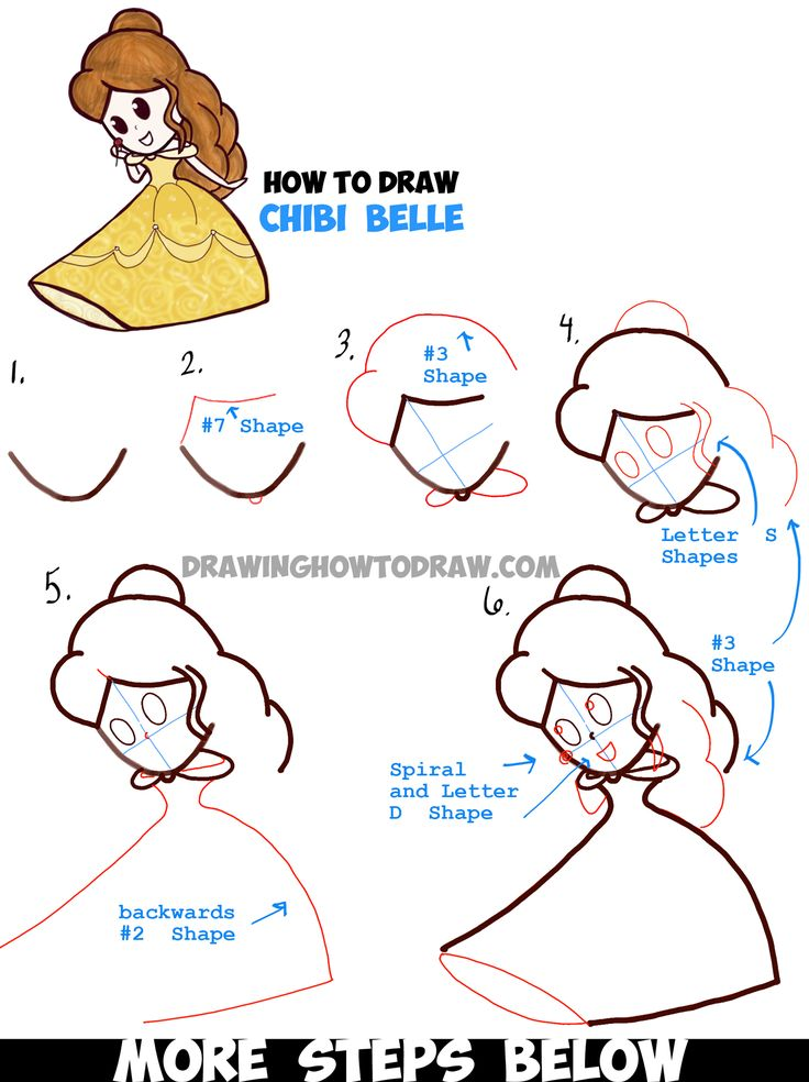 Learn How to Draw Cute Baby Chibi Belle from Beauty and the Beast - Simple Step by Step Drawing Tutorial