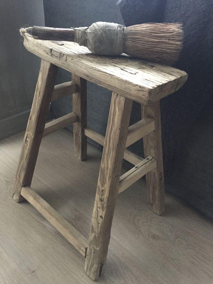 Oude houten Chinese kruk - Stoer Thuyz