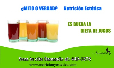 Dieta de Jugo. ¿Es buena? Mito o Verdad Nutrición Estética   http://nutricionylaestetica.blogspot.com/2012/08/comoadelgazar.html
